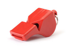 Sports whistle the plastic red Stock Photos