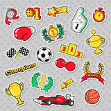 Sports Winner Badges, Patches and Stickers with Cups, Medals Stock Image