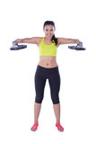 Sports woman with barbell Stock Photos