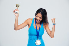 Sports woman celebrating his success Stock Photos