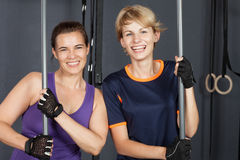 Sports woman crossfit barbell training with plastic bar Royalty Free Stock Photos