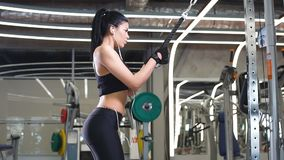 Sports woman doing exercise at crossover machine in gym. Rear view fit woman execute exercise with exercise-machine Cable Crossover in gym stock footage