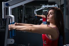 Sports woman doing exercises on power training apparatus in the gym. In stoke.The young girl doing exercise on the training appara stock photography