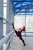 Sports woman doing stretching outdoors Royalty Free Stock Photos