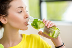 Sports Woman Drinking Water Stock Images