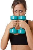 Sports Woman with dumbbells Royalty Free Stock Images