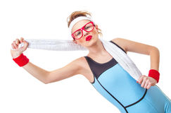 Funny Fitness Woman Ready For Gymnastick Stock Photo Image Of Health Fitness 36043944