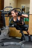 Sports woman in the gym. Sports young woman doing exercises on trainer back machine in the gym. Fitness royalty free stock images