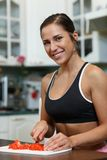 Sports woman and healthy food. Stock Photo