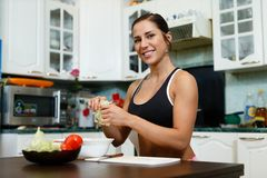 Sports woman and healthy food. Stock Image