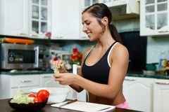Sports woman and healthy food. Stock Images