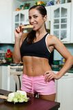 Sports woman and healthy food. Royalty Free Stock Photos