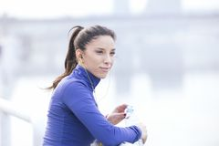 Sports woman hydrating. Fitness concept Stock Photo