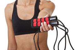 Sports Woman with jumping rope Royalty Free Stock Image