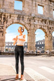 Sports woman near the coliseum Stock Image