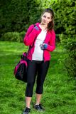 Sports woman in the park Stock Photos