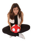 Sports woman play football Royalty Free Stock Photography