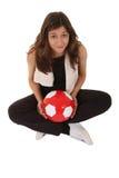 Sports woman play football Royalty Free Stock Photography