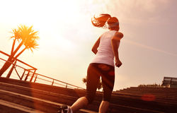 Sports woman running up on wooden stairs. Healthy lifestyle sports woman running up on wooden stairs Royalty Free Stock Photos