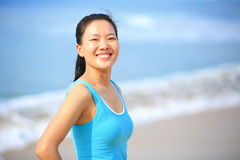 Sports woman seaside Royalty Free Stock Photos