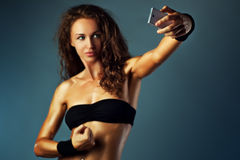 Sports woman selfie Stock Image