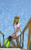 Sports woman stands with equipment for Snorkeling Royalty Free Stock Images
