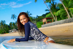 Sports. Woman On Surfboard In Water. Summer Vacation. Leisure Ac. Sports. Active Lifestyle. Healthy Beautiful Happy Fit Young Asian Woman In Blue Wetsuit On royalty free stock images
