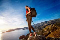 Sports woman on the top of mountain Royalty Free Stock Image