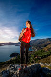 Sports woman on the top of mountain Stock Images