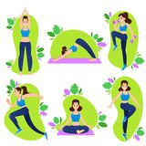 Sports woman vector illustration set with young girl doing cardio exercises and practicing yoga. Sports woman vector illustration set with young girl in royalty free illustration