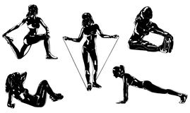 Sports woman. Young sports woman five silhouettes on white background Royalty Free Stock Photography