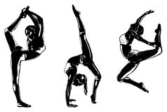 Sports women silhouettes. Three sports women silhouettes on white Royalty Free Illustration