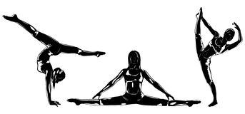 Sports women silhouettes Royalty Free Stock Photography