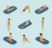Sports Women Yoga Gym Gymnastics Workout Exercise Flat 3d Web Isometric Infographic . Stock Photo