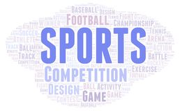 Sports word cloud. Wordcloud made with text only stock illustration