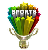 Sports Word Gold Trophy Winner Champion Stock Image