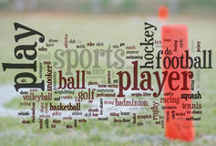 Sports words. Large group of related sports words with end zone line for football in the background Royalty Free Stock Images