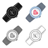 Sports wrist watch with heart rate measurement. Watch for athletes .Gym And Workout single icon in cartoon style vector. Symbol stock web illustration Royalty Free Stock Photo