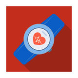 Sports wrist watch with heart rate measurement. Watch for athletes .Gym And Workout single icon in flat style vector. Symbol stock web illustration Stock Photo