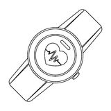 Sports wrist watch with heart rate measurement. Watch for athletes .Gym And Workout single icon in outline style vector. Symbol stock web illustration Stock Image