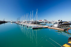Sports yachts in Sochi port. Russia Royalty Free Stock Photos