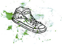 Sports youth gym shoes sneakers. Water colour drawing an illustration of youth gym shoes of sneakers with blots Royalty Free Stock Photo