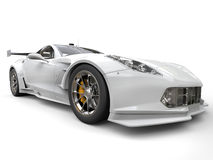 Sportscar современной выносливости белое - съемка переднего колеса Стоковое Изображение