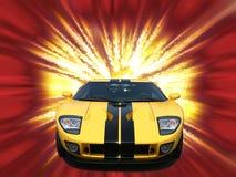 Sportscar americano amarelo de Firery Fotos de Stock Royalty Free
