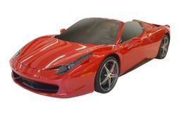 Sportscar rosso, isolato Immagini Stock Libere da Diritti