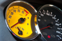Sportscar yellow and black speed display Royalty Free Stock Photography