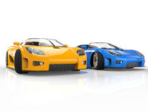 Sportscars blue and yellow Royalty Free Stock Photography