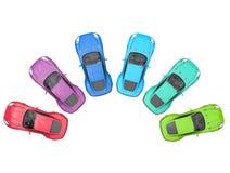 Sportscars cirkulering av färger - bästa sikt arkivfoto