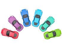 Sportscars cycle of colors - top view Stock Photo
