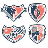 Sportschild und -embleme Stockfoto